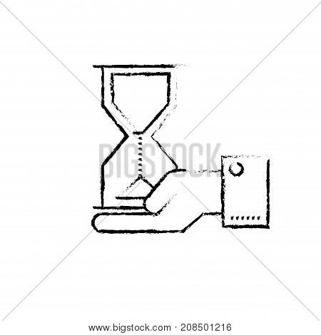 figure businessman with housglass object in the palm hand vector illustration