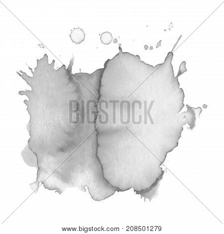 Abstract watercolor grayscale background. Vector illustration. Grunge texture