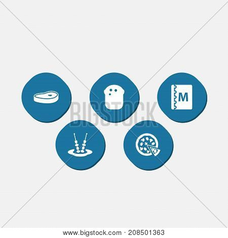 Collection Of Pepperoni, Canape, Baguette And Other Elements.  Set Of 5 Bar Icons Set.