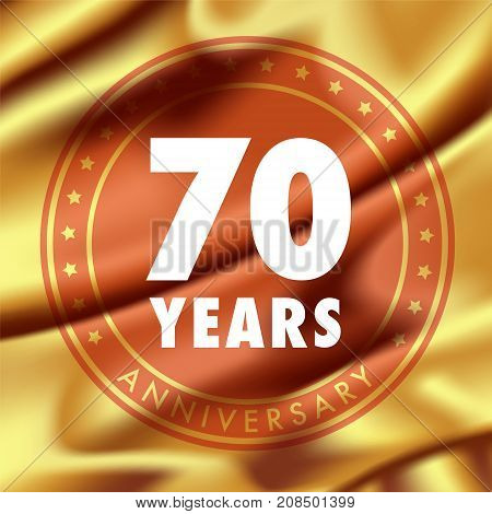 70 years anniversary vector icon logo. Template design element with golden medal in silk for 70th anniversary greeting card can be used as decoration element