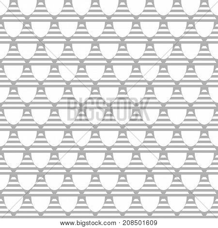 Seamless grey geometric pattern with stripes. Textured background. Vector art.