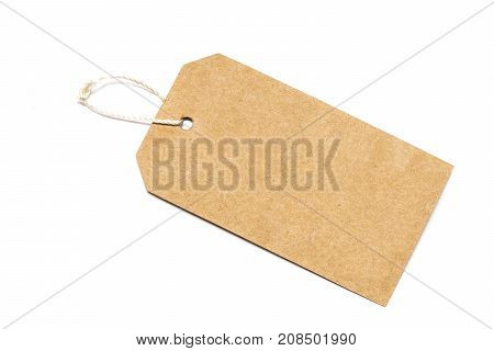 Blank Tag Tied With String .paper Label.blank Brown Cardboard Price Tag Or Label With Thread Isolate