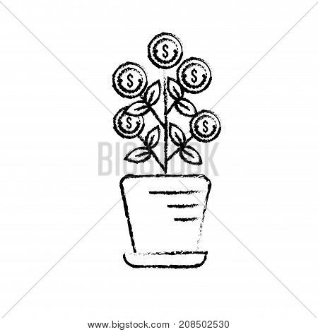 figure plant with coins leaves inside flowerpot vector illustration