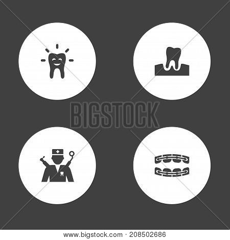 Collection Of Stabilize, Orthodontist, Gingivitis And Other Elements.  Set Of 4 Dentist Icons Set.