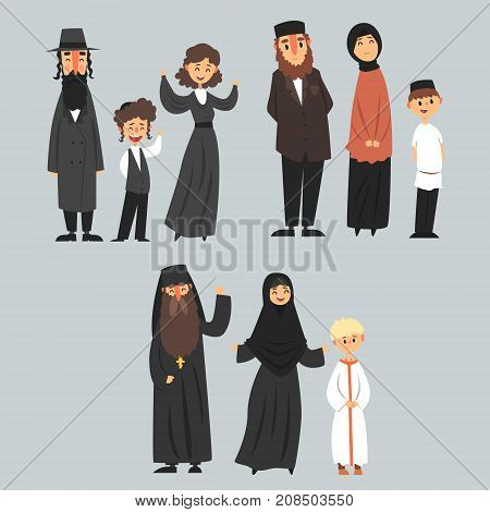 People of different religions in traditional clothes, Jewish, Muslim, Orthodox family vector Illustrations isolated on a ligt blue background