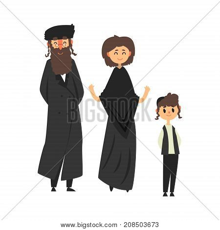 Traditional jewish family with son vector Illustration isolated on a white background