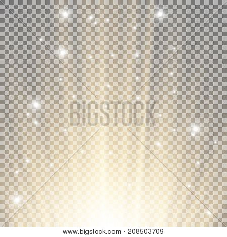 Light flare from below with sparkles on transparent background golden color