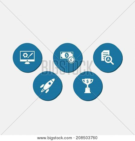 Collection Of Rocket, Repair Service, Goblet And Other Elements.  Set Of 5 Idea Icons Set.