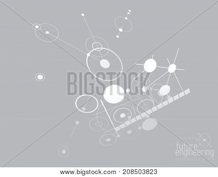 Futuristic abstract vector technology background. Mechanical engineering.