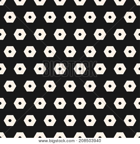 Hexagons vector pattern. Abstract geometric seamless texture with perforated hexagonal shapes. Simple monochrome black & white honeycomb background. Stylish dark design for decor, covers, digital, web.