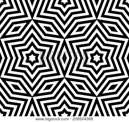 Subtle geometric ornament seamless pattern. Vector monochrome geometrical texture. Abstract linear shapes, stars, rhombuses, repeat tiles. Modern black & white background, pop art style design.