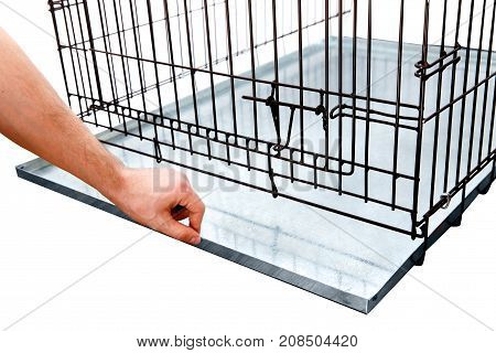 Cage. Wire dog and cat crate or animal cage on white background isolated