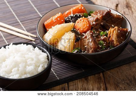 Galbi Jjim Or Kalbi Jim - Korean Braised Beef Short Ribs With Rice. Horizontal
