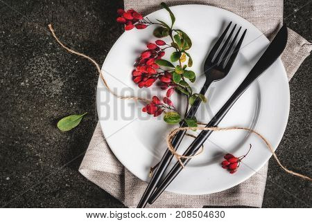 Set Of Cutlery With Autumn Decoration
