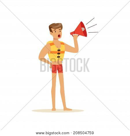 Male lifeguard in red shorts shouting by megaphone, professional rescuer on the beach vector Illustration isolated on a white background
