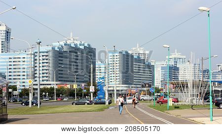 Pobediteley Avenue, Minsk, Belarus. July 25 2017.