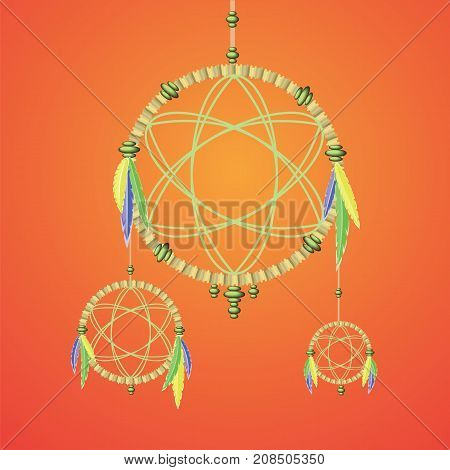 Dream Catcher is Ancient Old Indian Symbol on Orange Background