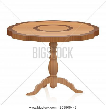 Side table - antique vintage furniture with wooden texture an turned tripod table leg - isolated 3d vector illustration on white background.