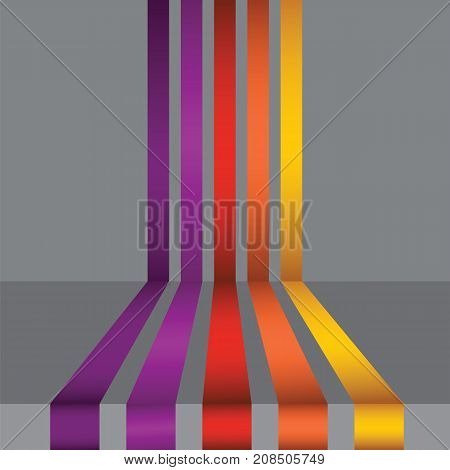 Colorful Striped Lines on Grey Gradient Background