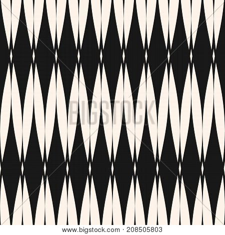 Vector seamless pattern. Abstract graphic monochrome background with rhombus shapes, mesh, grid texture, repeat tiles. Art deco style. Elegant geometric design for decor, fabric, textile, carpet, cover. Mesh background. Ornamental pattern.