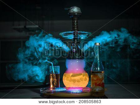 Hookah smoke in cafe & lounge bar