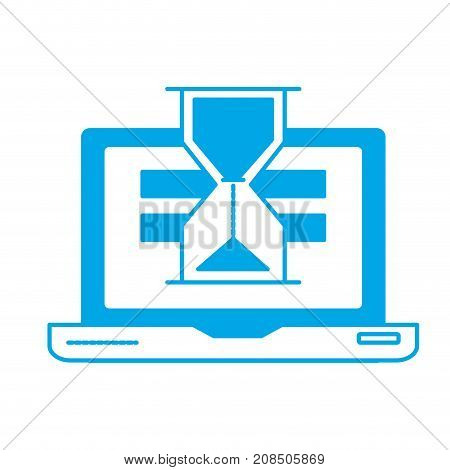 silhouette laptop technology searching with hourglass icon vector illustration