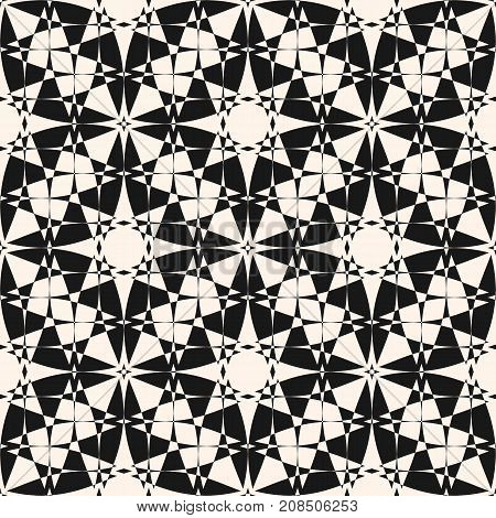 Ornament geometric vector seamless pattern. Abstract mosaic texture with intersecting geometrical shapes, stars. Ornamental monochrome background, repeat tiles. Design element for decoration. Ornamental pattern. Stars pattern. Design pattern.