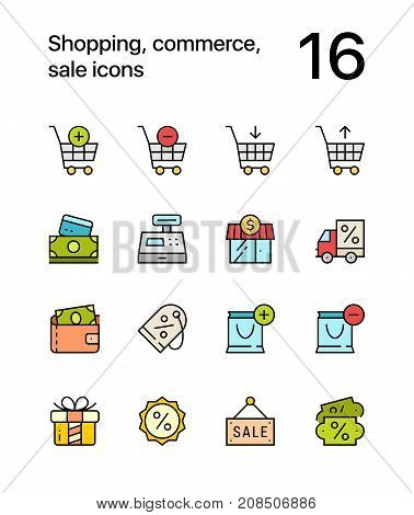 Colored Shopping, commerce, sale icons for web and mobile design pack 1