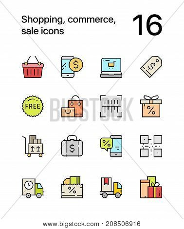 Colored Shopping, commerce, sale icons for web and mobile design pack 2