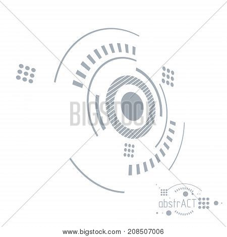 Mechanical scheme vector engineering drawing with circles and geometric parts of mechanism. Technical plan can be used in web design and as background.
