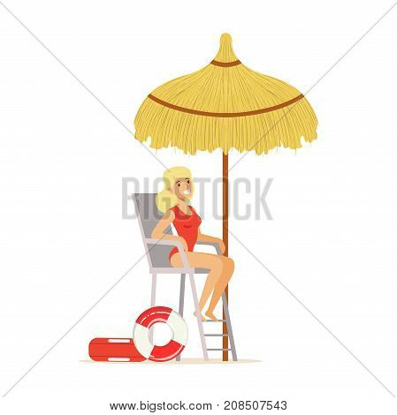 Female lifeguard in a red swimsuit watching situation on the beach, rescuer professional vector Illustration isolated on a white background