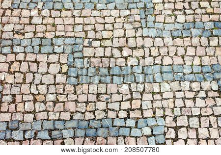 Horizontally oriented outdoor cobblestone background and texture