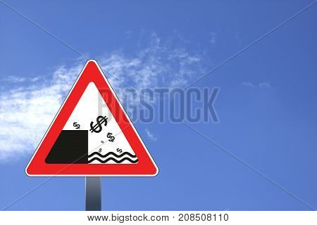 Illustration of road sign with dollar currency decline concept