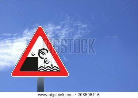 Euro currency decline concept illustration with road sign and euro symbol falling