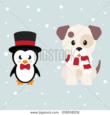 vector image of a cartoon winter dog and penguin