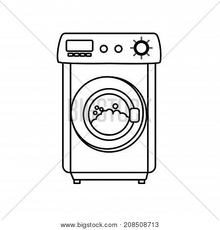line washing machine object to clean the clothes vector illustration