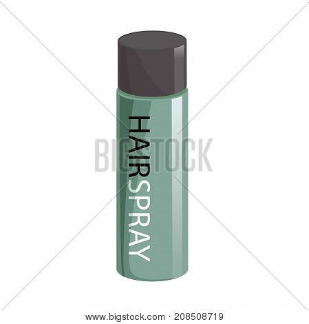 Cartoon style simple gradient hair spray fixation icon. Closed green bottle. Hair care and styling accessory vector illustration.