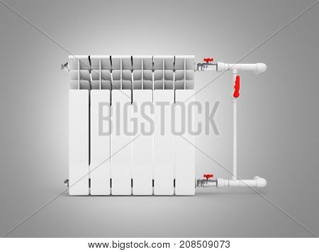 Heating White Radiator Isolated On Grey Background Without Shadow 3D