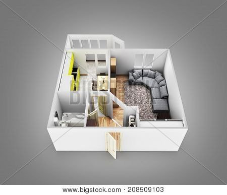 Interior Apartment Roofless Apartment Layout On Grey Gradient Background 3D Render