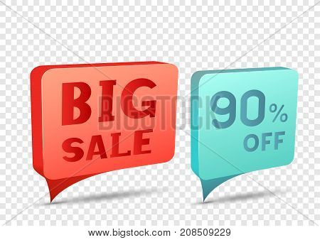 Red and blue big sale tag discount sticker. Rectangular sale banner with item pointer. Business communication dialog or quote template sign. Promotion ninety percent off on transparent background