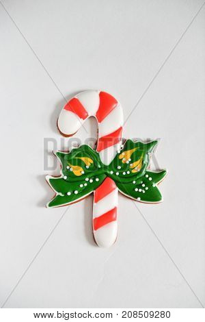 Christmas homemade gingerbread cookies on new year gift isolated on white background isolate. candy