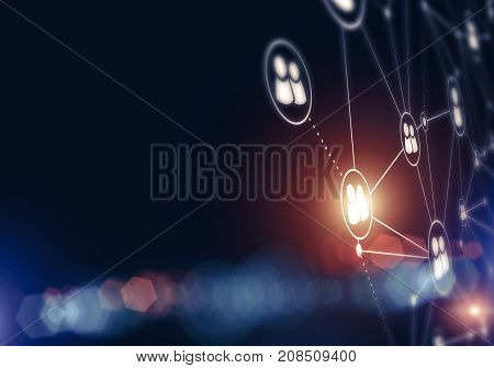 Background conceptual image with social connection lines on dark backdrop
