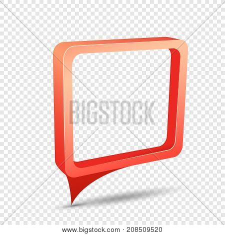 Red frame tag discount sticker. Rectangular sale banner with item pointer. Business communication dialog or quote template sign. Empty promotion shape on transparent background