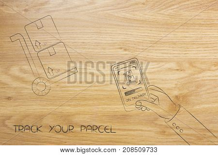 Hand Holding Smartphone With Delivery Notification And Parcel In The Background