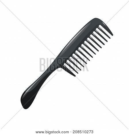 Cartoon trendy plastic black hair comb icon isolated on white background. Professional salon accessories vector illustration.