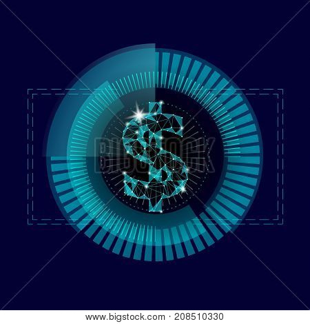 Dollar Target Hud Graph Interface Display. American Currency Symbol Low Poly Geometric Blue Icon Use