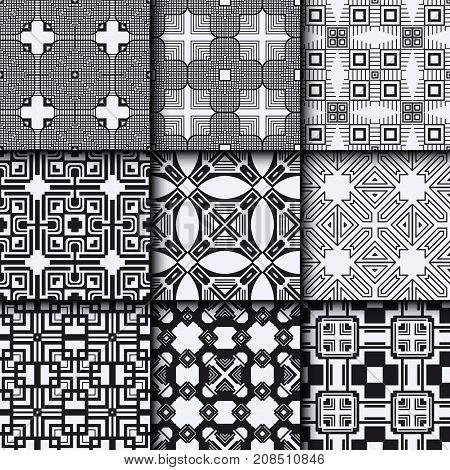 Art Deco Vintage Seamless Patterns Set. Template For Design. Vector Illustration Eps10