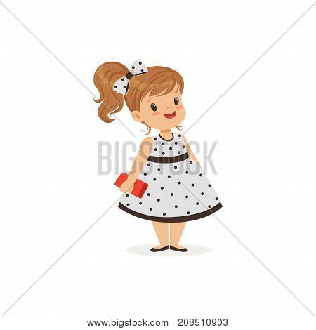 Beautiful little girl in polka dot dress, young lady dressed up in classic retro style vector Illustration isolated on a white background