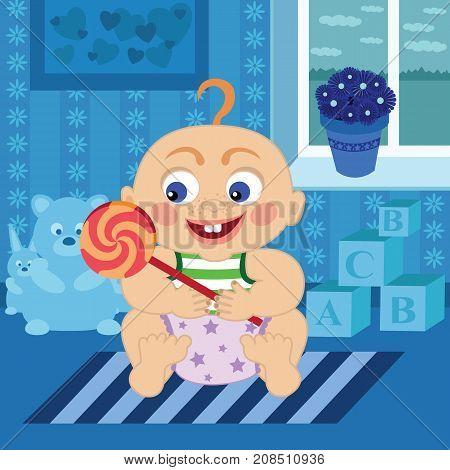 Cartoon cute baby with big sugar candy