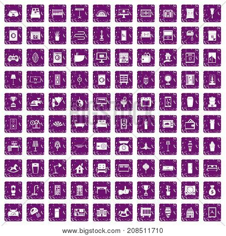 100 interior icons set in grunge style purple color isolated on white background vector illustration